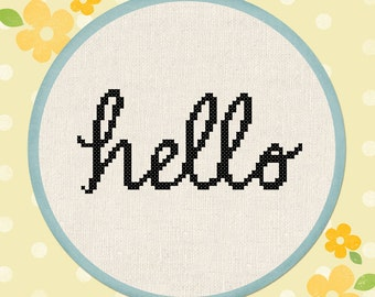 Cursive Hello. Text Cross Stitch Pattern PDF Instant Download