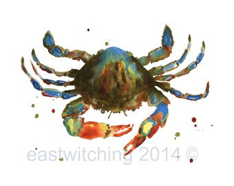 CRAB paintings, crab print, Maryland blue crab, bathroom art, 8x10 print, watercolor