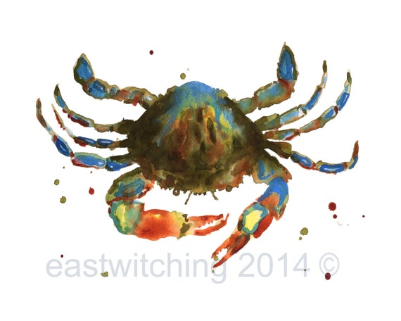 CRAB paintings, crab print, Maryland blue crab, bathroom art, 8x10 print, watercolor