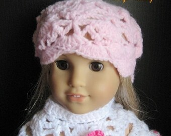 PATTERN in PDF -- Crocheted doll hat for American Girl, Gotz or similar 18 inches dolls -- Doll hat 34