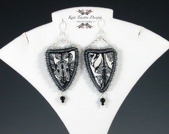 Black and White Shield Earrings, Polymer Clay, Bead Embroidery