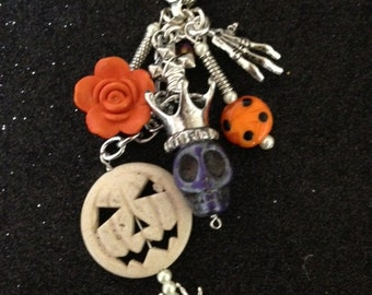 Beautiful Gothic Day of the Dead-Sugar Skull and Pumpkin - Flower-Bag Candy- Key Chain -Key Ring