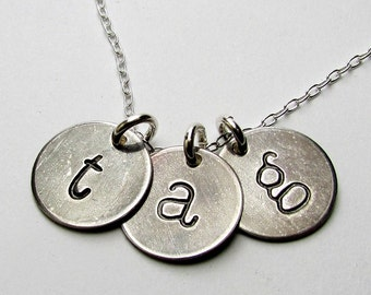 Rustic Letter Necklace, Vintage Style Initial Charms, Lowercase Letter Charms, Monogram Necklace, Sterling Silver Initial Charms Eriadesigns