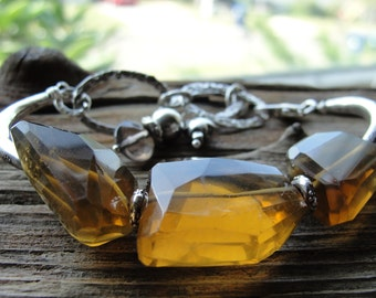 Whiskey Quartz, Thai Hill Tribe Silver and Sterling Silver Bracelet