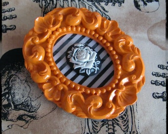 Framed Bright Orange and Stripes Gothic Lolita 3D Rose Cameo Art - Warning Label Creations