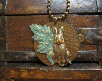 Rabbit Necklace, Nature Inspired, Hare Necklace, Woodland Animal, Easter Bunny, Verdigris Leaf, Woodland Rabbit, Hare Pendant, Gifts for Her