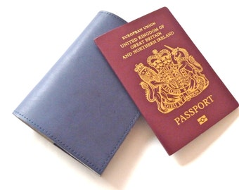 FREE SHIPPING, Leather Passport Holders, Navy Blue