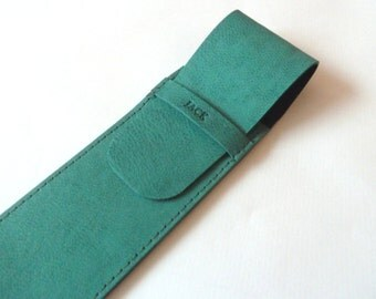 Leather Pen Case, Teal (2 pens)