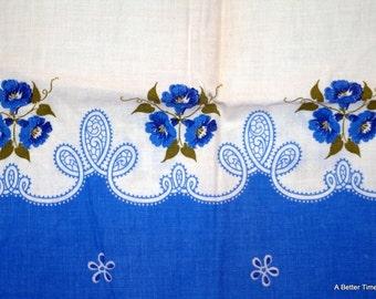 Vintage feed sack blue flowers on white - feedsack