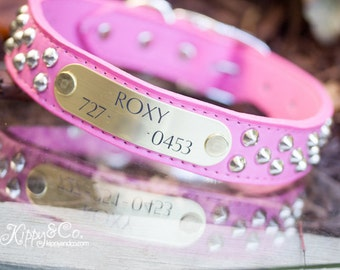 Pink Studded Leather Dog Collar, Pink Leather Dog Collar, Personalized Leather Dog Collar, Engraved Name id,