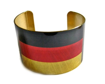 Germany FLAG cuff bracelet German Brass or aluminum Heritage Gifts for her