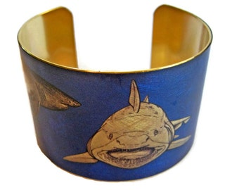 Great White Shark Maneater cuff bracelet brass or aluminum Gifts for her