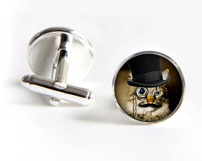 Dandy Cat Cufflinks steampunk silver 18mm cuff links Gifts for him