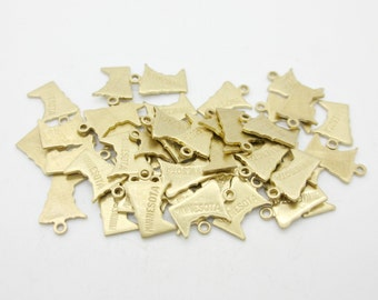 Minnesota State Charm, Raw Brass, 5 pieces, Made in the USA