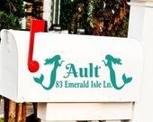 Mermaid mailbox Vinyl decal Address sticker, ONE Mail Box decal, Nautical Decor, Custom Mermaid Decor, Beach House Mailbox, Office sign