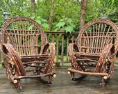 Twig Willow Rocking Chair SET - 2 Rustic Bentwood Rockers