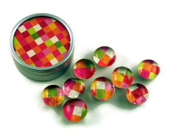 Glass Push Pins  Thumb Tacks Cork Board Pins in Kaleidoscope  with Gift Tin (PT75)