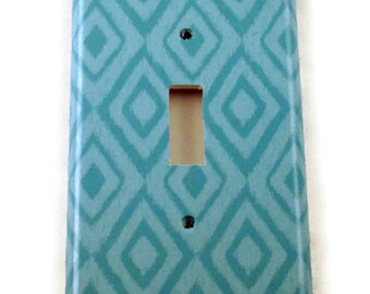 Wall Decor Light Switch Cover  Switch Plate Switchplate in  Blue Ikat  (134S)