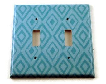 Wall Decor Double Light Switch Cover  Switch Plate Switchplate in  Blue Ikat  (134D)