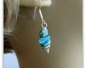 Turquoise  Earrings,  Beaded Dangle Earrings, Kingman Turquoise Chips,Tibetan Bead Caps, Jewelry Accessories, Surgical Steel Earwires