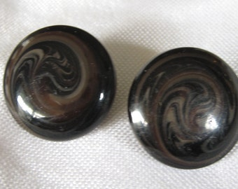 Set of 2 Antique Victorian Black Glass with Swirl BUTTONS