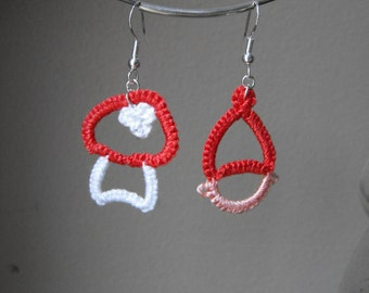 Garden Gnome with Red Hat and Mushroom Earrings Magical Tatted Lace Fiber Art Jewelry