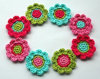 Crochet Flower Motifs x 8 in Hot Pink, Candy Pink, Lime, Aqua