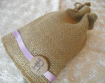 Favor Bags - SET OF 10 Rustic Monogram Burlap Wedding Favor Bag Candy Buffet Bag or Gift Bag - Item 1245