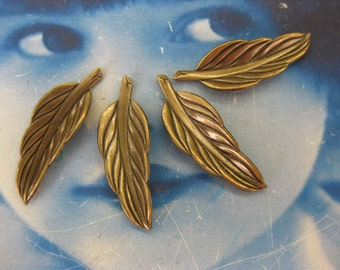 Vintage Brass Ox Plated Leaves great for jewelry 53BOX  x4