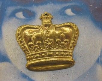 Large Raw Brass Crown Pendant 399RAW x2