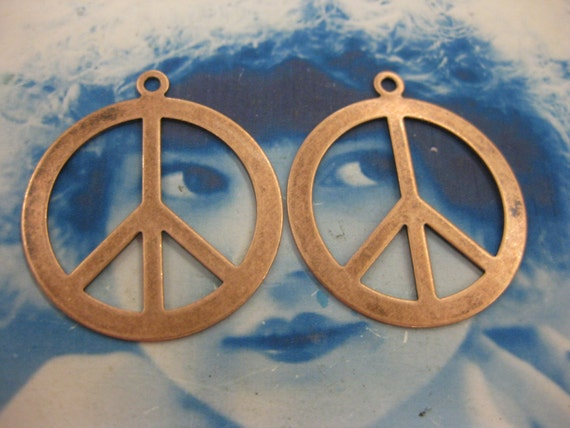 Copper Ox Plated Brass Peace signs 31mm Pendants 2051COP x2