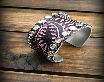 Ms. Mabel, Western Cowgirl Shabby Chic Leather & Rhinestone Cuff Bracelet
