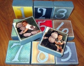 12 small DOUBLE SIDED month blocks- for baby's first birthday party decor or gift