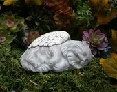 Cat Angel Statue - Persian, Himalayan, Long Haired Cat Art Outdoor Garden Decoration