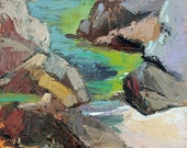 Original Seascape Painting Oil Painting Landscape Painting Impressionism turquoise aquamarine green gray