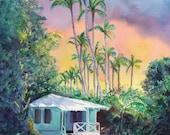 Kauai art, Kauai art prints, Hawaii art, Hawaiian art, Kauai Plantation Cottage,  8x10 print from Kauai, Hawaiian sunsets, Kauai sunsets