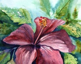 Hibiscus Watercolor Painting Original Art from Kauai Hawaii Hawaiian Art Hawaiiana Home Decor Interior Design purple magenta