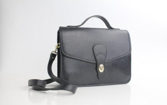 80s leather satchel / vintage black leather messenger bag / black leather purse