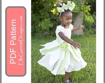 PDF Pattern - Tiana Charmed Princess Twirl Dress size 6 months - girls 12