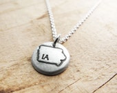 Tiny Iowa necklace, silver state jewelry silver map pendant