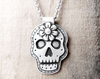 Sugar skull necklace Day of the Dead necklace Día de los Muertos jewelry calaveras pendant gift for him boyfriend gift for her