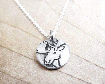 Tiny Moose necklace, silver Moose jewelry
