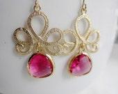 Red Teardrop Earrings, Gold Tiara Chandelier Earrings, Red Glass Gem, Christmas Jewlels, Wedding Jewelry