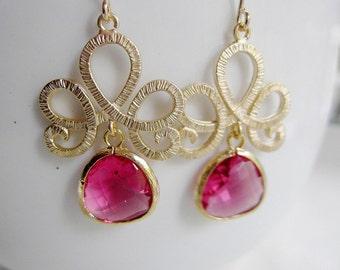 Gold Tiara Earrings, Chandelier Earrings, Red Glass Teardrop, Bridesmaid Earrings, Wedding Jewelry