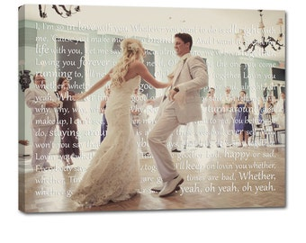 Canvas Photo Word Art Wedding Gift Art Words Text Photo 10x14  inch