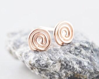 Rose Gold Circle Posts,  Rose Gold Swirl Studs, Metal Studs