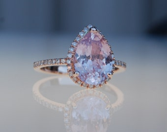 2.14ct Pear shape Peach champagne sapphire 14k rose gold diamond ring engagement ring