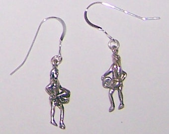 Sterling Silver 3D AMERICAN INDIAN DRUMMER Earrings - Southwest