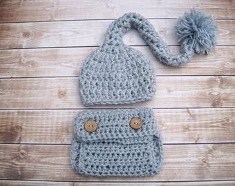 Crochet Baby Hat, Baby Diaper Cover Set, Baby Elf Hat, Baby Boy Hat, Newborn Hat, Infant Hat, Blue, Newborn Boy Hat, Boy Photo Prop, Infant