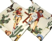 Quilted Pot Holders Set of 2 Cowgirl Alexander Henry